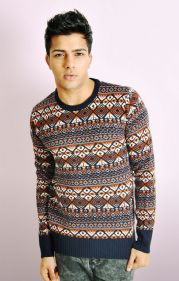 MULTI-COLOUR PATTERN KNIT JUMPER